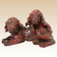ART DECO  Rhodonite Carving Of Spaniels, c 1920s, Outstanding