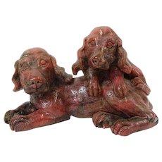 ART DECO  Rhodonite Carving Of Spaniels, c 1920s, Outstanding