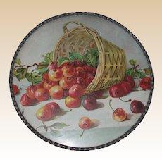 Antique German Flue Cover, Victorian - Overturned Basket Of Cherries