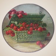 Antique Victorian Flue Cover - Basket Of Cherries