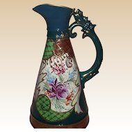 Very Lovely Vintage Hand Painted Ewer With Gold Trim Outline In Medium Relief