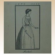 "ERICH M. SIMON (German, b 1892-1978) Signed Original Ink Drawing  ""Rahel Varnhagen"""