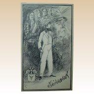 """Erich M Simon  (German 1892 - 1978) - Signed Original Ink Drawing """"Otto von Bismarck"""" c. 1910"""
