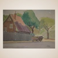 """Original Watercolor - """"The Pushcart"""" - by Viennese Secessionist, Listed Artist Rudolf Petrik, c 1946"""