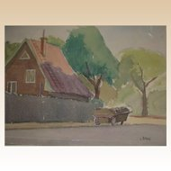 "Original Watercolor - ""The Pushcart"" - by Viennese Secessionist, Listed Artist Rudolf Petrik, c 1946"