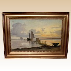 Antique Signed Oil Painting On Wooden Board, Sailing Boats Near Shore, c1900