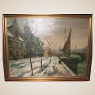 Large Oil On Canvas - Street Scene by Listed Danish Artist Ove Svenson