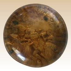 Large Antique Pinchbeck Paperweight, Gold Color With Victorian Scene, c 1850