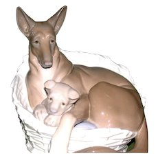 """LLADRO - Extremely Rare """"German Shepherd With Pup"""" - Closed Edition, c 1970"""