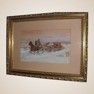 "Signed Original Antique Watercolor - ""Sleigh Ride In Winter"" - Kandeson, 1912"