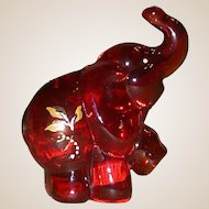 Fenton - Ruby Elephant - Handpainted, Signed, J. K. (Robin) Spindler