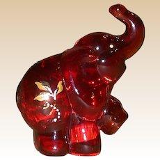 Fenton - Ruby Elephant - Handpainted, Signed, J. K. (Robin) Spindler