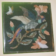 Lovely Antique Pietra Dura - Tropical Bird with Flowers and Butterfly