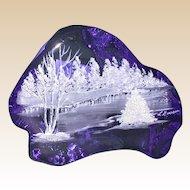 "Original Work by L. Everson: Hand-Painted Cobalt Blue Iceberg Art Glass Sculpture, ""Winter Scene"""