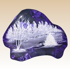 "Original Work by L. Everson: Hand-Painted Cobalt Blue Iceberg Art Glass Sculpture, ""Winter Scene"""