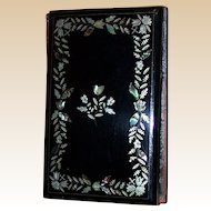 Victorian Aide Memoire, Black Lacquer Covers, Inlaid Silver And Mother Of Pearl Floral Decoration c. 1844