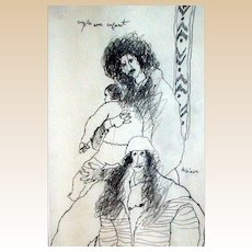 "Outstanding Original Drawing by Theo Tobiasse, ""Couple Avec Enfant"" - Signed and Titled By Artist"