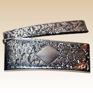 Sterling Silver Bright Cut Engraved Curved Floral Card Case With Gilded Interior, c 1902