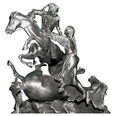 """Don Polland  (1932 - 2003) - Dramatic Pewter """"The Rescue"""" -  Signed, Numbered, Closed Limited Edition"""