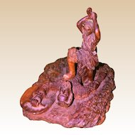 "Large and Dramatic Two Piece Wood Carving - ""David And Goliath"" - From Israel"