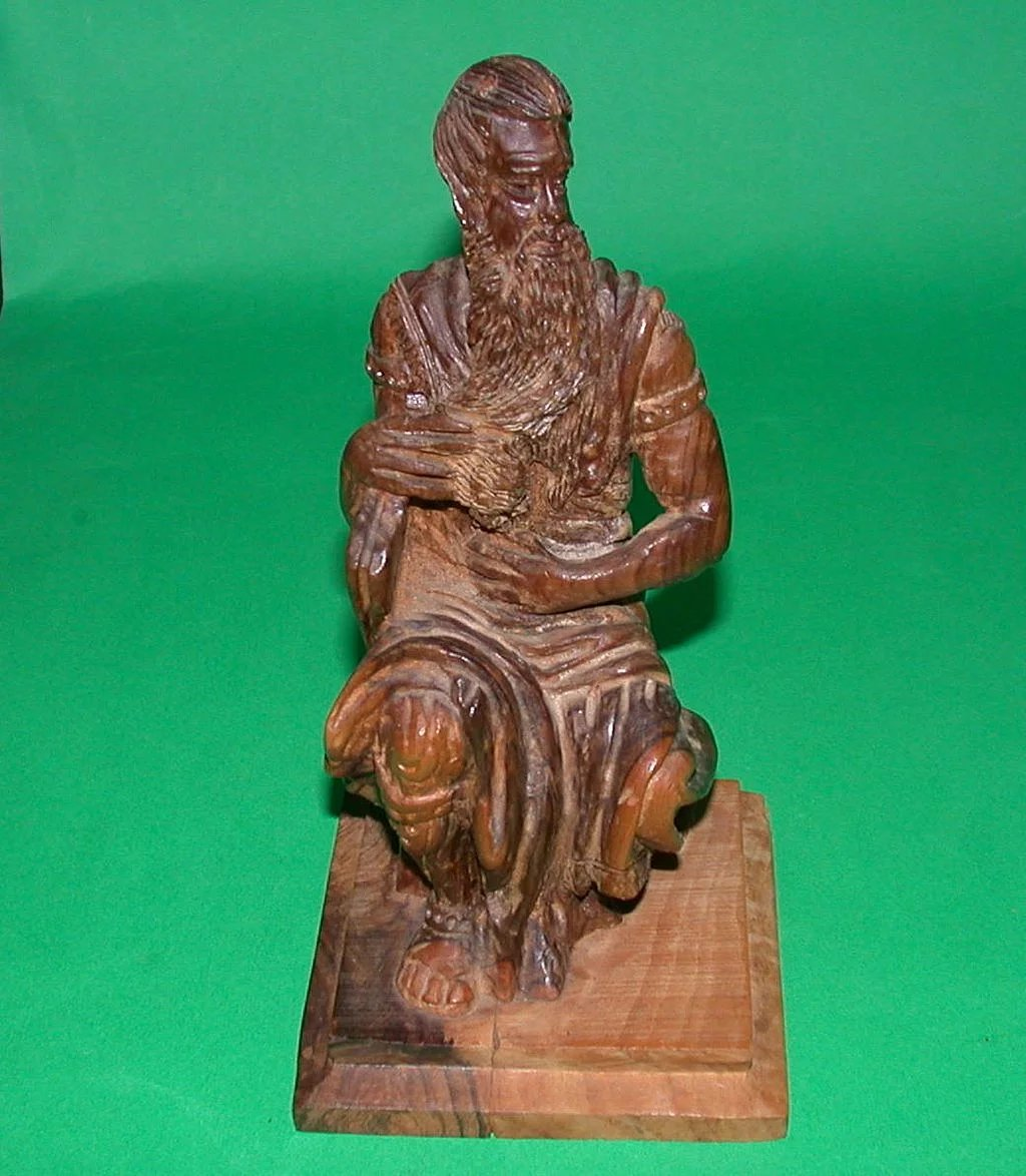Well carved wood sculpture quot moses from israel c