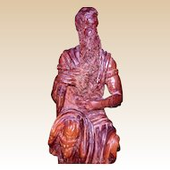 "Well-Carved Wood Sculpture - ""Moses"" - From Israel, c 1970"