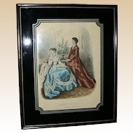 "Antique Hand Colored Engraving ""La Mode Illustree"" - Heloise Leloir - Paris, 1867"