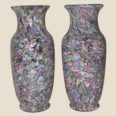 Extraordinary Offering:  Museum Quality Antique Clichy Pair Of Signed Scrambled Millefiori Vases - ONLY PAIR Outside Of A Museum!