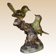 "ANTONIO BORSATO - Multi-Figural Porcelain Sculpture ""Two Siskins"""