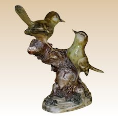 "ANTONIO BORSATO - Multi-Figural Porcelain Sculpture ""Two Siskins"""