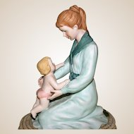 "Mother and Child ""Tipptoes"" Porcelain Sculpture by Roman, Inc. - c 1981, Premier Issue"
