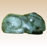 Chinese Carved Jade Ram, Beautiful Color