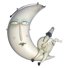 "Original Ceramic Sculpture by Riccardo Biavati - ""Puncenella On Moon"" - Signed"