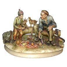 "ANTONIO BORSATO - ""The Woodcutter""  Multi-Figural Porcelain Sculpture"