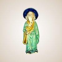 Antique Chinese Mudman, Glazed, With Fan Symbolizing Integrity, c 1900