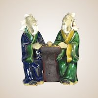 Chinese Multi-Figural  Mudmen - Two Sages Playing Wei-chi, c 1930