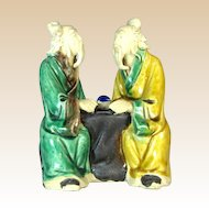 Chinese Mudmen, Seated Pair of Sages With Instrument, C 1930
