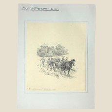 Original Antique Drawing by Poul Steffensen (Danish 1866-1923), Dated 1901