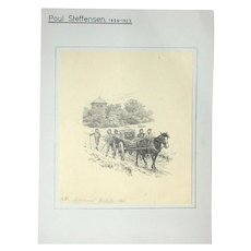 Original Antique Drawing by Poul Steffensen (Danish 1866-1923), Dated 1901