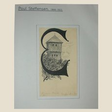 Original Antique Drawing by Poul Steffensen (1866-1923), Signed and dated 1904