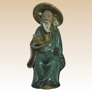 Chinese Mudman Seated Sage Holding Peach, Symbol of Longevity - What a Great Birthday Gift!
