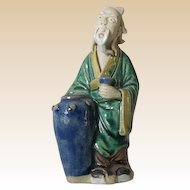 Rare Antique Chinese Mudman - Poet Li Bai Po with Wine Jug and Cup, Circa 1900