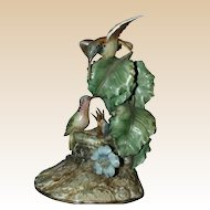 "Borsato ""Hummingbirds"" - Large Multi-Figural Incredibly Detailed Porcelain Sculpture Of Hummingbird ""Parents"" Feeding Babies In The Nest!"