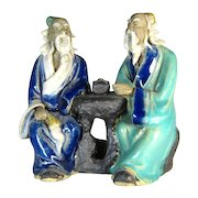Chinese Mudman Seated Pair of Sages With Flywhisk and Scroll  - Circa 1920s