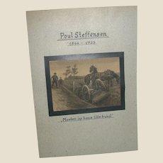 Poul Steffensen (Danish 1866-1923) - Original Pencil and Watercolor Drawing on Paper -  -Circa 1902