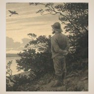Poul Steffensen (1866-1923) - Original Pencil and Watercolor Drawing on Paper - Man In Melancholic Landscape -Circa 1901