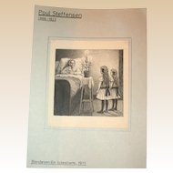 Poul Steffensen (1866-1923) - Original Antique Pencil, Pen and Watercolor Drawing on Paper, Circa 1911