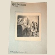 Poul Steffensen (Denmark 1866-1923) - Original Antique Pencil, Pen and Watercolor Drawing on Paper, Circa 1911