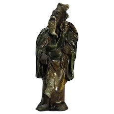 RARE Antique Chinese Family Altar Figure As Fisherman, Circa 1900 -