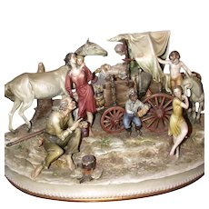 """ANTONIO BORSATO -Magnificent  """"Gypsy Camp"""" - One of the Master's Most Detailed Multi--Figural Porcelain Sculptures -  Capodimonte's Best!"""